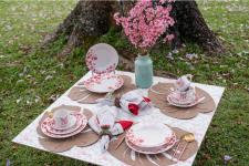 Aparelho de Jantar, Chá e Sobremesa 20 Peças Biona Jardim Oriental em Cerâmica – Branco/Vermelho