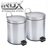 Kit Lixeiras 5 Litros em Inox, 2 unidades