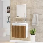 Gabinete Banheiro Siena C/ Cuba E Espelheira Branco/Ripado Móveis Bechara