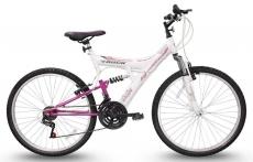 Bicicleta Track & Bikes TB-200/WP Aro 26 – 18 Marchas Suspensão Central Quadro de Aço Branco,Rosa
