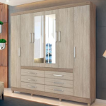 Guarda-roupa Casal com Espelho 6 Portas – 6 Gavetas Demóbile Paris II Nogal