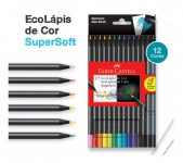 Lápis de Cor, Faber-Castell, EcoLápis Supersoft, 120712SOFT+2, 12 Cores + 2 Grafite