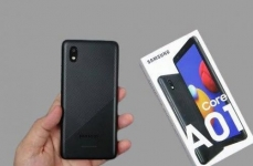 """Smartphone Samsung Galaxy A01 Core Azul 32GB, Tela Infinita de 5.3"""", Câmera Traseira 8MP, Android GO 10.0, Dual Chip e Processador Quad-Core"""