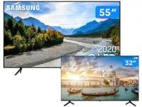 "Combo Smart TV 4K QLED 55"" Samsung 55Q60TA Wi-Fi – Bluetooth HDR 3 HDMI 2 USB + HD D-LED 32"" Philco"